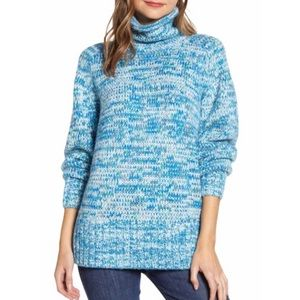 Lou & Grey Blue Marina SpaceDye Turtleneck Sweater